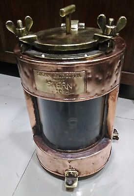 VINTAGE MARINE COPPER & BRASS Electric Lamp WHITE GLASS G1