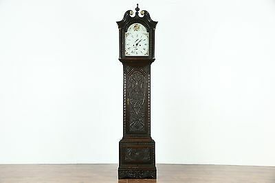Scottish Georgian 1820 Antique Oak Grandfather Clock, Signed Th. Ivory of Dundee