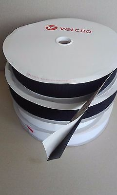 "50Mm 2"" White / Black Hook Or Loop Velcro® Brand Self Adhesive Sticky Tape Ps14"