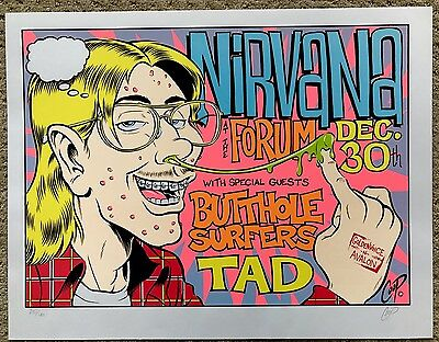 Nirvana Butthole Surfers Tad Forum Coop Concert Poster Signed/Numbered