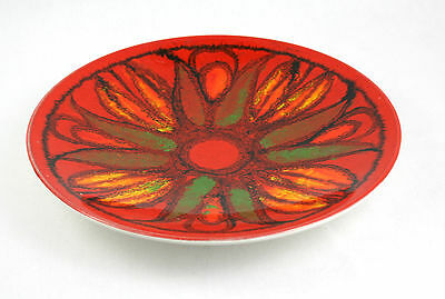 Poole Delphis Dish Bowl Plate Shape 4 Floral Red Orange Green
