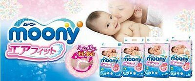Japanese diapers - nappies Moony - BOX of 4 packs - Size on request