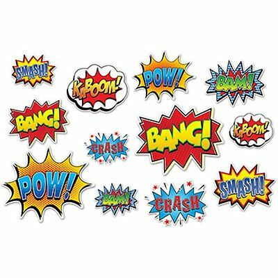 Superhero Action Sign Cutouts 12 pc  Party  Super Hero Pow Bam Decoration
