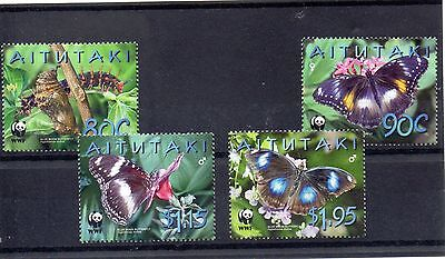 AITUTAKI 2009 WORLD WILDLIFE FUND SG 723 to 726 MNH - BUTTERFLY