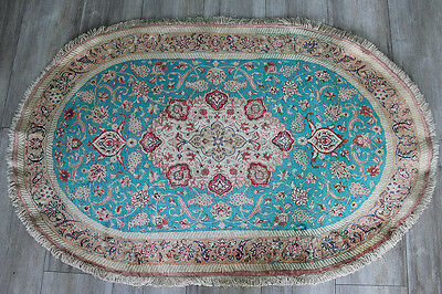 An Outstanding Persian Qum Handmade Silk Rug With Floral Design 120 X 75  Cm