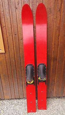 """ANTIQUE Set of Wooden 70"""" Long Waterskis  Water Skis RED FINISH"""