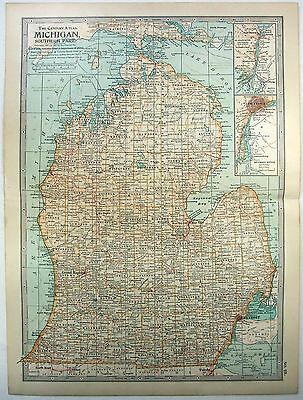 Original 1902 Map of Southern Michigan by The Century Company