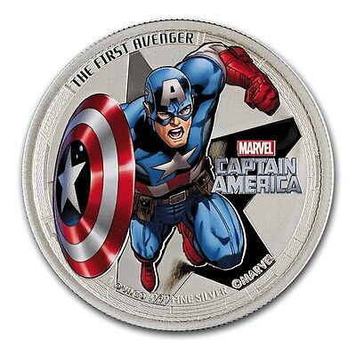 Avengers Captain America $2 Two Dollar Silver Proof 1oz Coin