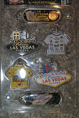 6 Las Vegas Sign Lucky Penny T-Shirt Keychains Casino Party Favors Prizes Gifts