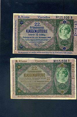 x2 Two Austrian Lottery Tickets 1929 with no overprint