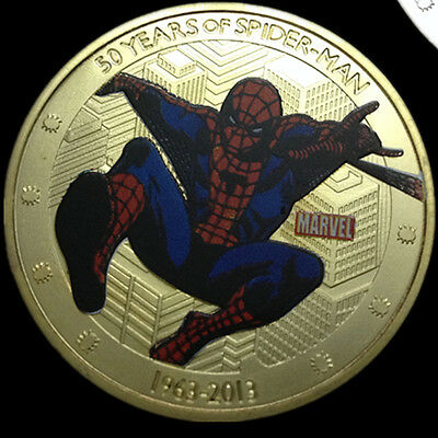 Marvel 50 Years Anniversary Two Dollar Colorized 1oz 24k Gold Plated Spiderman