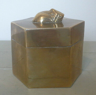 Lovely vintage brass box with cat figure on top, metalware, brass, antique
