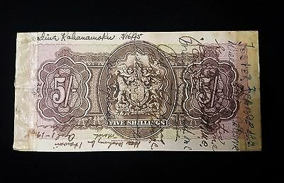 1937 Bermuda Five Shillings Signed by Nadine Kahanamoku Dukes Wife Short Snorter
