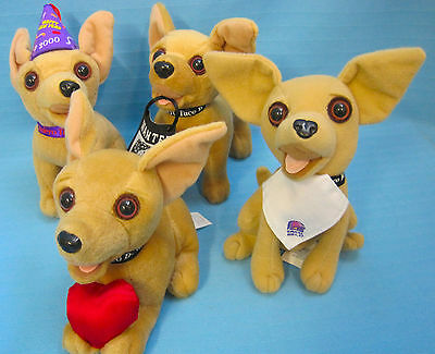 Chihuahua Puppy Dog Taco Bell Official Plush Talking Lot of 4 Tan