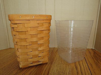 "Longaberger Tall Basket 8"" & Plastic Insert Wine Kitchen Utensils 1996 Signed"
