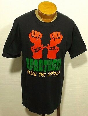 vintage APARTHEID BREAK THE CHAINS t-shirt black power hip hop rap size LARGE