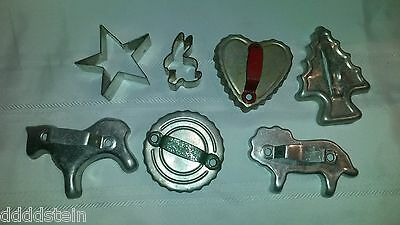 Lot of 7 Vintage Metal Cookie Cutters Heart, Circle, Star, Rabbit, Horse, Lion