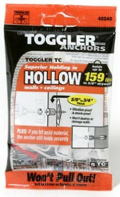 """Toggler, 5 Pack, 5/8""""-3/4"""", TC Hollow Wall Anchors With Screws 50325"""