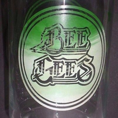 """Vintage Bee Gees Drinking Glass Album LP Band Logo Clear Green Tall 7"""""""