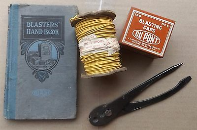 Dupont 1922 Edition Blasting Hand Book& Cap Tin&spool Of Wire& Us Crimper Lot