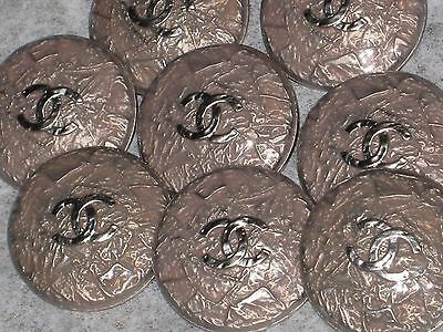 Chanel 8 Cc Logo Front Auth  Silver , Light Taupe Color Buttons 24 Mm New Lot 8