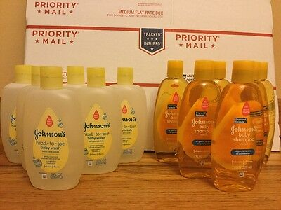 Johnson's Baby Wash And Baby Shampoo. Lot Of 12