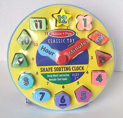 Melissa And Doug Wooden Shape Sorting Clock Educational