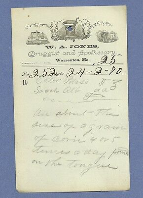 1870 WA Jones Druggist Apothecary Warrenton Missouri Prescription Receipt No 252