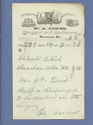1870 WA Jones Druggist Apothecary Warrenton Missouri Prescription Receipt No 239