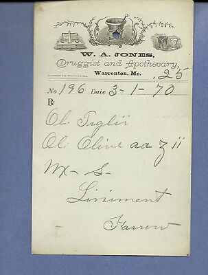 1870 WA Jones Druggist Apothecary Warrenton Missouri Prescription Receipt No 196