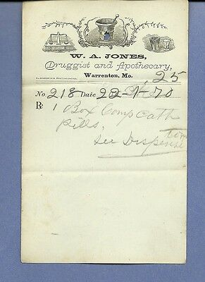 1870 WA Jones Druggist Apothecary Warrenton Missouri Prescription Receipt No 218