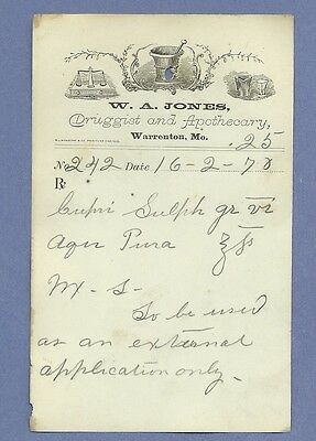 1870 WA Jones Druggist Apothecary Warrenton Missouri Prescription Receipt No 242