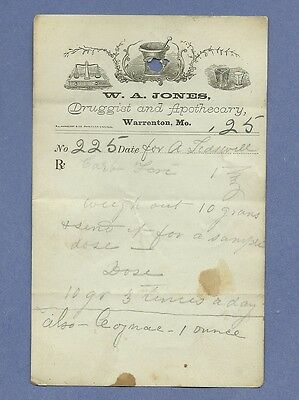 1870 WA Jones Druggist Apothecary Warrenton Missouri Prescription Receipt No 225