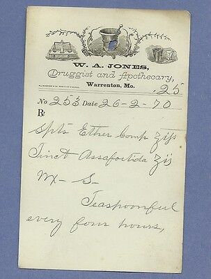 1870 WA Jones Druggist Apothecary Warrenton Missouri Prescription Receipt No 253
