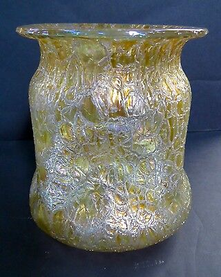 Large Loetz Vase. Decor: Astglass With 4 Large Dimples