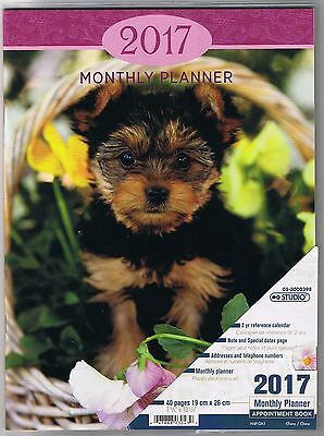 Puppy-Dog-2016-Monthly-Planner-Calendar-Appointment 40 Pages Book 7 5/8 X10 1/4""