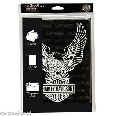 "HARLEY DAVIDSON Eagle Bar & Shield 12X18"" FLAG GREETING CARD Auth/Lic NEW IN PKG"