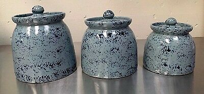 Vintage Pottery 3 Piece Blue Canister Set with Lids