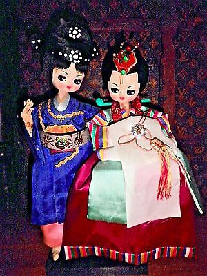 ANTIQUE Korean ORIENTAL WEDDING BIG EYE DOLLS Handmade DOLL SILK HANBOK