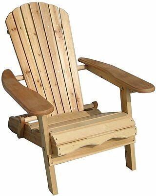 Adirondack Foldable Chair Natural Wood Ergonomic Outdoor Patio Porch Deck Garden