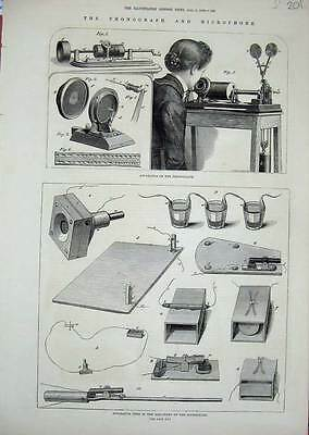 Old Antique Print 1878 Phonograph Microphone Apparatus Machinery 201N738