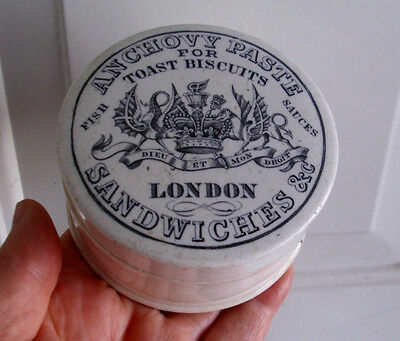 Antique,ceramic,c1870 LONDON Paste lid with impressive monogram jar, box pot lid
