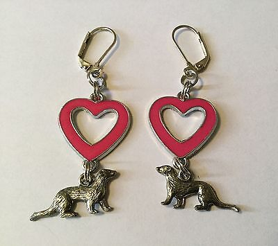 Ferret And Heart Earrings Pink Dangle Pierced