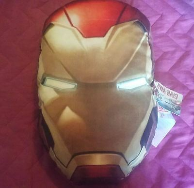 "Marvel's Iron Man Oval Head Pillow Avengers Captain Amarica Civil War 15"" NWT"