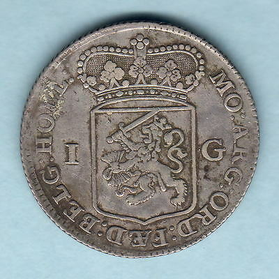Netherlands - Holland. 1762 1 Gulden..  VF - Trace Lustre