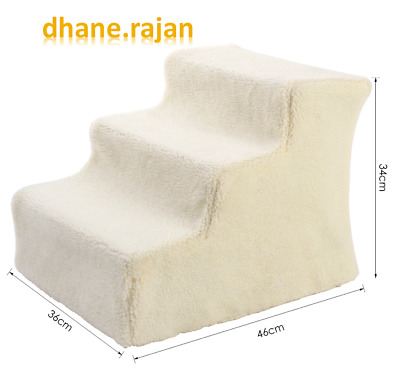 Pet 3 Steps Stairs Comfortable for Cat & Dog Beige Small Pet Stairs
