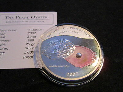 5 Dollars Silber Palau - Pearl Of The Sea - Muschel Perle 2007 PP Proof