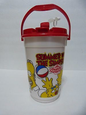 1996 Rare Vintage Summer With The Simpsons Churchs Chicken The Bucket Travel Cup