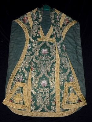 Antikes Messkleid Messgewand Kasel 18./19. Jhdt. Grün Brokat Seide Ihs Chasuble