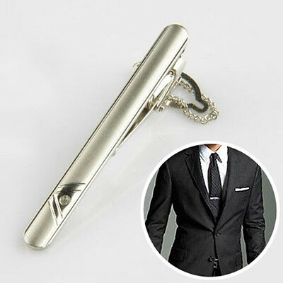 Silver Metal Necktie  Tie Clip Holder Clasp 60mm Mens Chrome  Bar Pin Plain UK